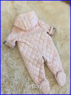 Nwt Authentic Burberry Quilted Pink Check Infant Baby Snowsuit Coat Jacket 3-6m