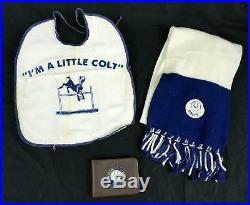 Original 1960s-70s Baltimore Colts Clothing Lot Winter Scarf Wallet & Baby Bib