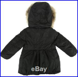 Pre-owned Moncler Baby Girl Blue Goose Down Fox Fur Collar Jacket Coat 12-18 M
