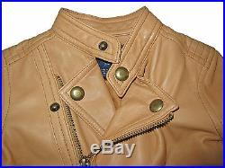 Ralph Lauren Madison Ave Kids Girls Lambskin Leather Moto Polo Jacket Coat 2 / 3