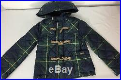 Ralph Lauren Polo Toggle Jacket Coat Girls 4T Hoodie Quilted Tartan Plaid