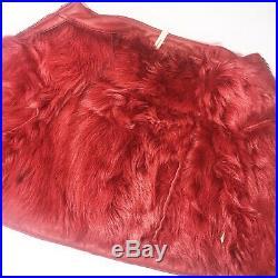 Red 100% Real Shearling Fur Toddler Girls Winter Coat, Size 2t, Kids Jacket