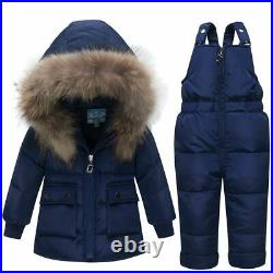 Russian Winter Coats Outerwear Hooded Jumpsuit Baby Fur Snowsuit Clothing Set
