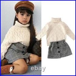 Toddler Baby Girls Winter Clothes Knitted Sweater Tops+Skirt Outfits Set 2PCS