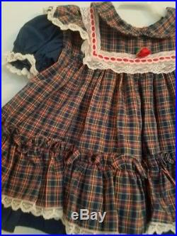 Vintage Baby Girls 6-9 Month Bryan Plaid Lace Pinafore Look Easter Dress! Euc