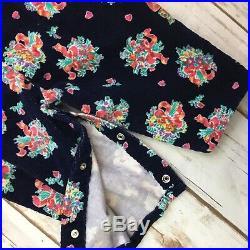 Vintage OshKosh B'Gosh Sz 12 MO Vestbak Floral Corduroy Overalls 90s BOW A3