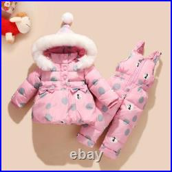 Winter Children Baby Girl Duck Down Jacket Coat and Pants 2pcs Warm Clothing Set
