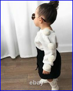 Winter Clothes Toddler Baby Girls Clothes Hairball Knit Tops+Button Mini Skirt