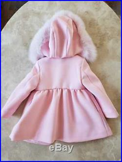 Young Versace Girl Jacket Peacoat Outerwear & Detachable Fur Hood 18M BRAND NEW